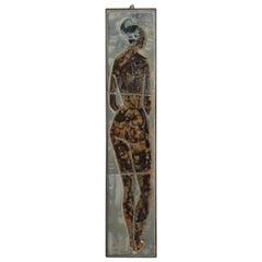 Wall-Mounted Glazed Tiles Women Sculpture Designed by Joost Maréchal, Belgium
