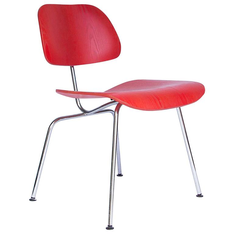 1946, Charles Eames, DCM in Ash, Original by Vitra Painted in Red