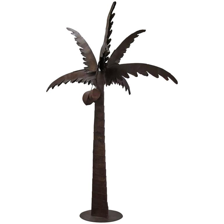 Unic Brutalist Sculpture Natural Patina Iron Paul Evans Style Coconut Tree