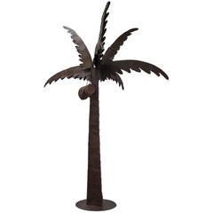 Unic Brutalist Sculpture Natural Patina Iron Coconut Tree