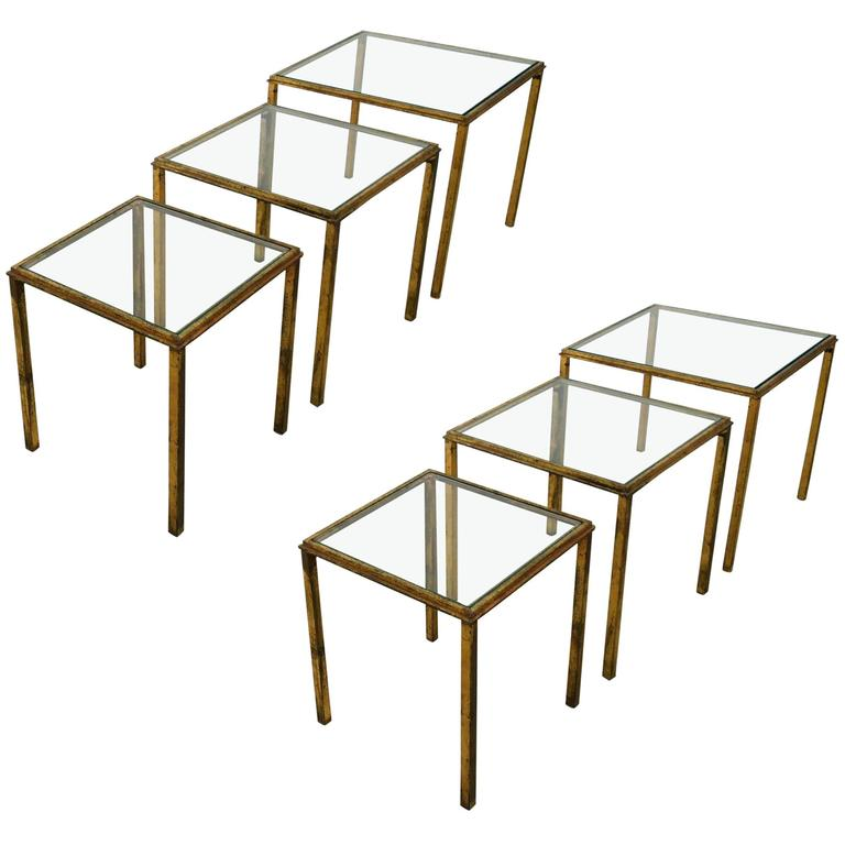 Two Sets of Mid-Century Three Gilt Wrought Iron Nesting Tables  by R.Thibier