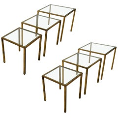 Two Sets of Mid-Century Three Gilt Wrought Iron Side Tables  by R.Thibier