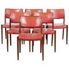 Mid-Century Danish Set of Six Chairs in Rosewood by Niels Møller