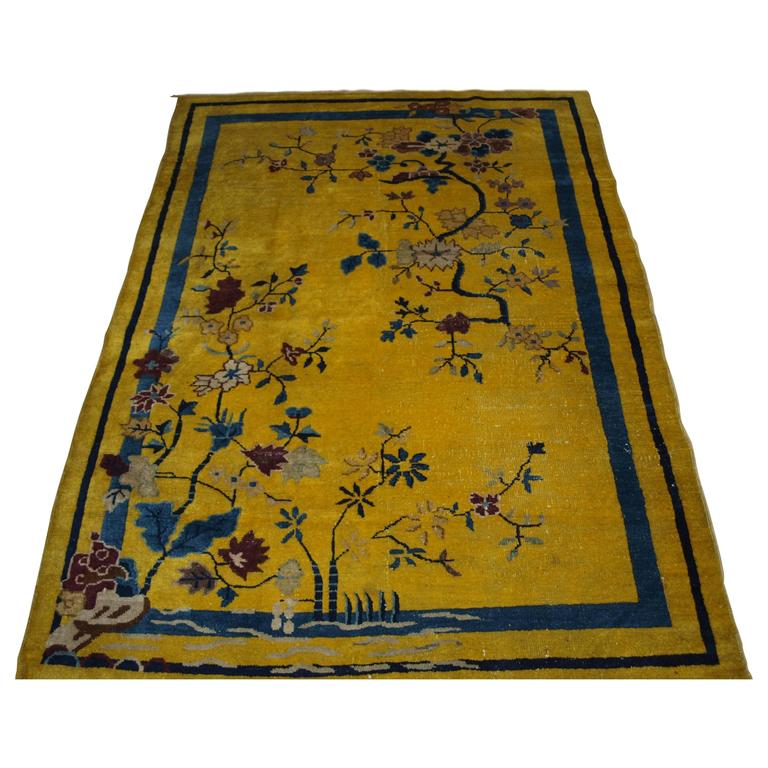 Antique Chinese Rug: Antique Chinese Yellow Ground Peking Rug, Circa 1900 For