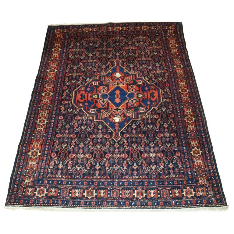 Antique Large Rug: Antique Senneh Rug With A Large Single Medallion, Circa