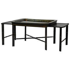 Expandable English Regency Style Faux Bamboo Black Lacquer and Gilt Tray Table