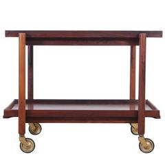 Mid-Century Danish Serving Cart in Rosewood by Poul Hundevad