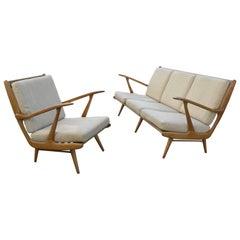 Organic Carlo Mollino Style Sofa with Armchair
