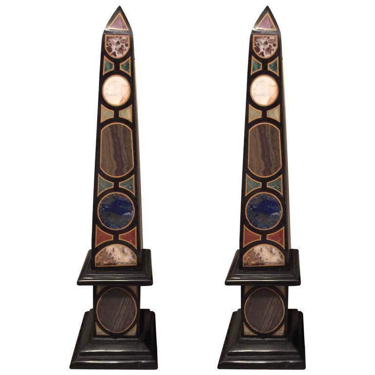Vintage Pair of Marble Specimen Obelisks, after Mongiardino