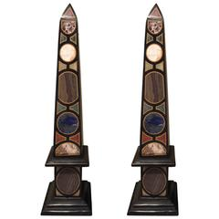 Vintage Pair of Marble Specimen Obelisks, after Mongiardino