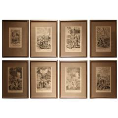 Set of Eight European Fire Related Engravings by G.Freeman Nicely Framed