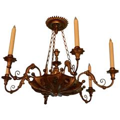 Continental Painted and Giltwood Six-Light Chandelier, 19th Century