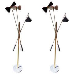 Beautiful Pair of Italian Floor Lamp in the Style of Stilnovo