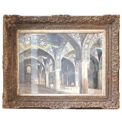 """Mosque Interior Watercolor by Nahapetian Yervand """"Isfahan, 1969"""""""