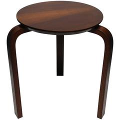 Midcentury European Wood Stool or Side Table in the Style of Alvar Aalto