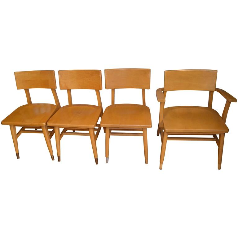 Set Of Four Dining Chairs Of Rock Maple From Midcentury Midwestern School Fo