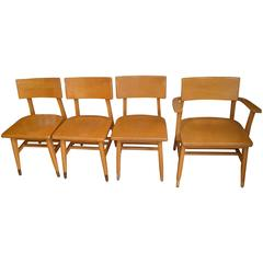 Set of Four Dining Chairs of Rock Maple from Midcentury, Midwestern School