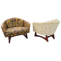 Rare Pair of Adrian Pearsall Wide Barrel Back Lounge Chairs, Mid-Century Modern