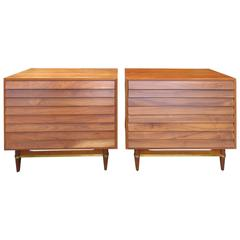 Stunning Pair of American of Martinsville Louvered Bachelors Chests