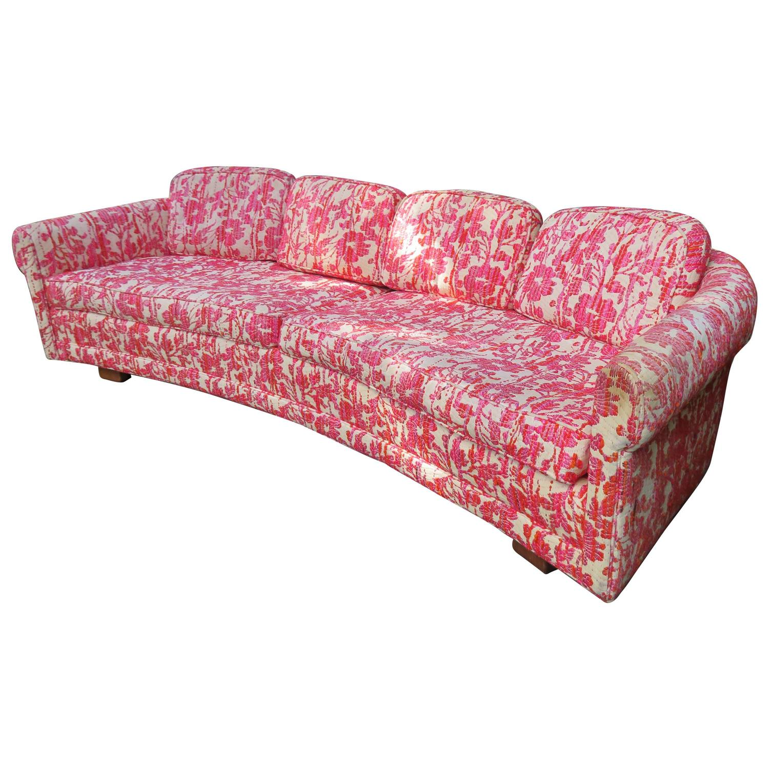Charming Mid-Century Modern Low Curved Sofa Selig For Sale at 1stdibs