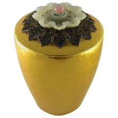 Marie Zimmermann Gilt Covered Cup with Carved and Pierced Antique Jade Finial