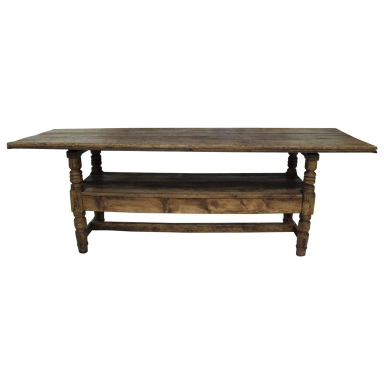 Spanish Provincial Antique Bishop's Bench as Console Table, 19th Century For Sale