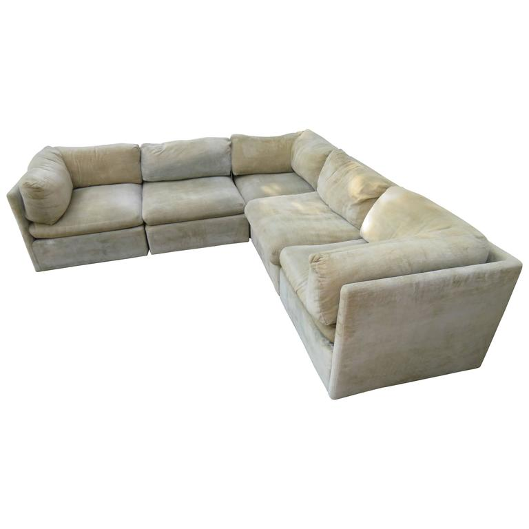 Charming Fabulous Modular Signed Milo Baughman Sofa Sectional, Mid Century Modern  For Sale