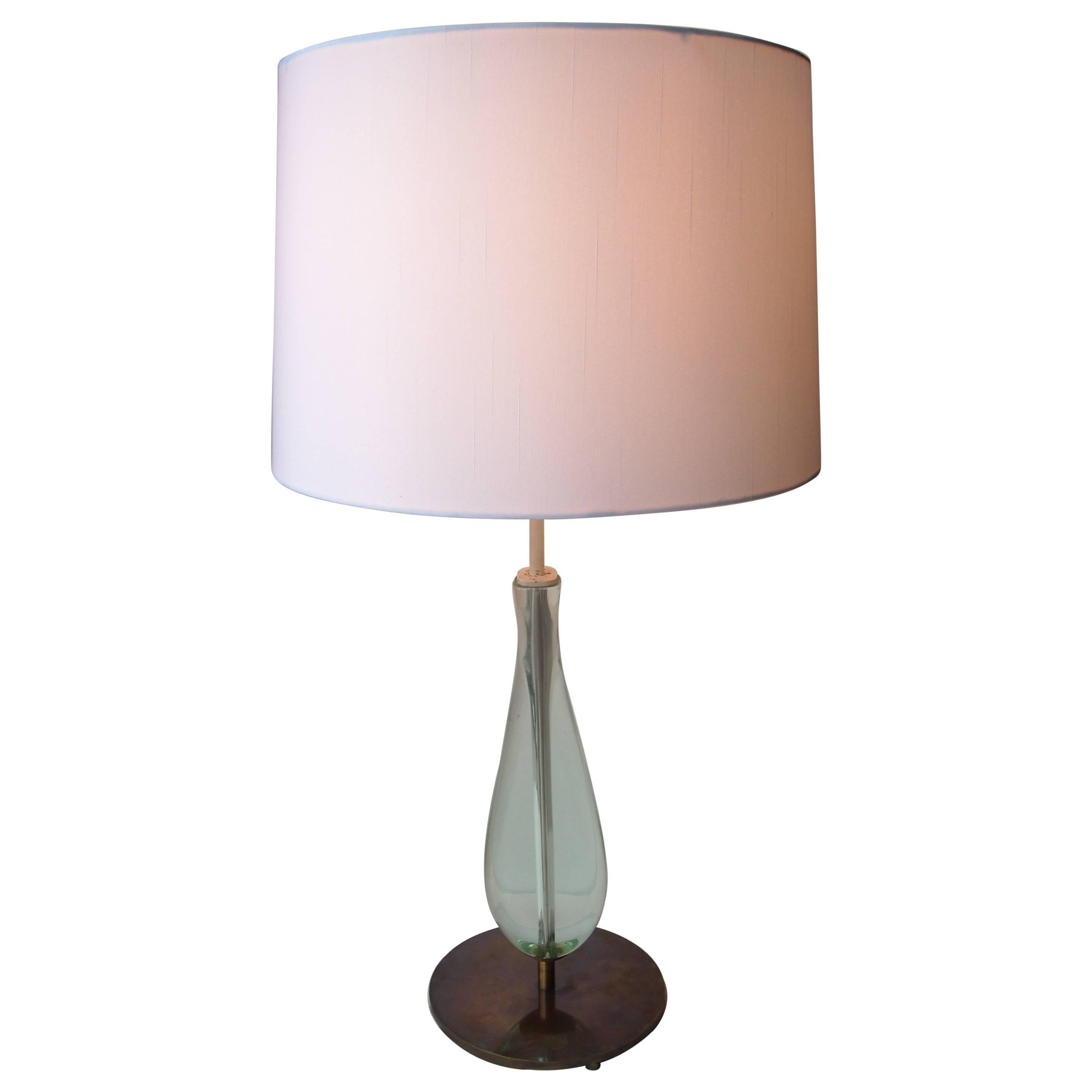 Max Ingrand Glass and Brass Table Lamp for Fontana Arte, Model 2206
