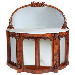 19th Century High Victorian Walnut Mirror and Credenza