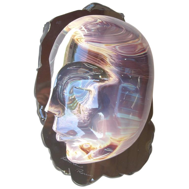 """Loredano Rosin Murano Glass, Sculpture, """"the Face"""" Head, Signed 1"""