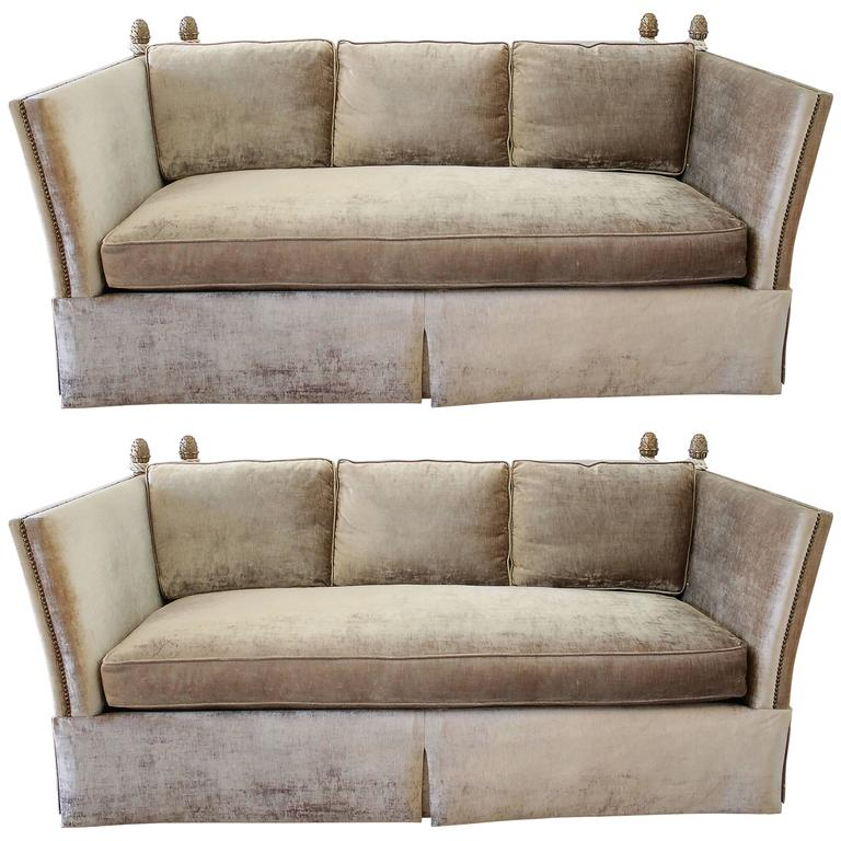 Pair Of Knoll Style Sofas With Acorn Finials In Champagne Velvet Upholstery At 1stdibs