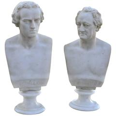 Pair of Mid-19th Century Marble Busts of Schiller and Goethe