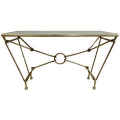 Important Gilt Iron Console or Sofa Table by Giovanni Banci for Hermes
