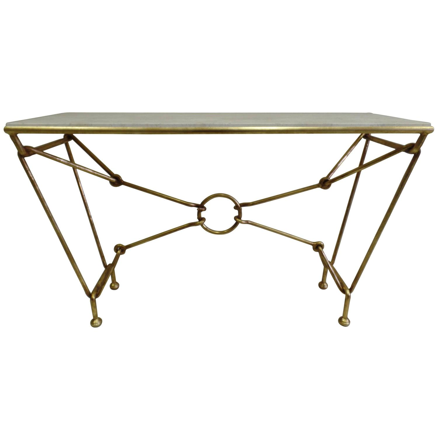 Italian Modern Neoclassical Gilt Iron Console by Giovanni Banci