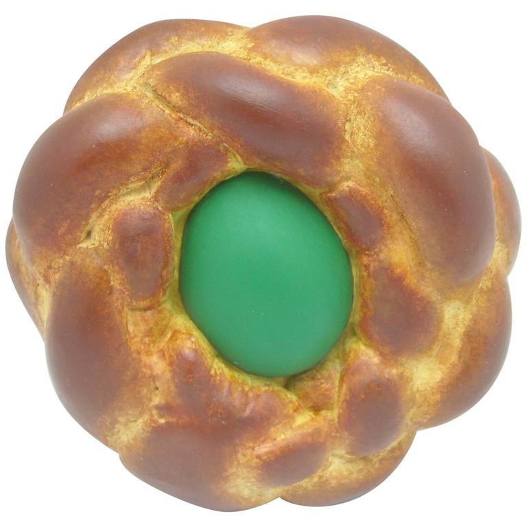 "Jeff Koons ""Bread with Egg"" Green, Signed and Dated, Pop Art For Sale"