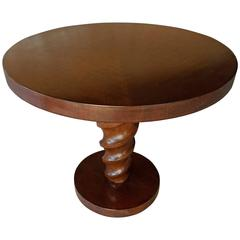 "Rare ""Corkscrew"" Circular Side Table by Johan Tapp  C. 1940s"
