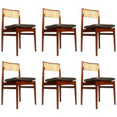 Set of Eight Rare Danish Modern Teak Dining Chairs Designed by Erik Worts