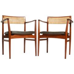 Pair of Rare Danish Modern Teak Armchairs Designed by Erik Worts