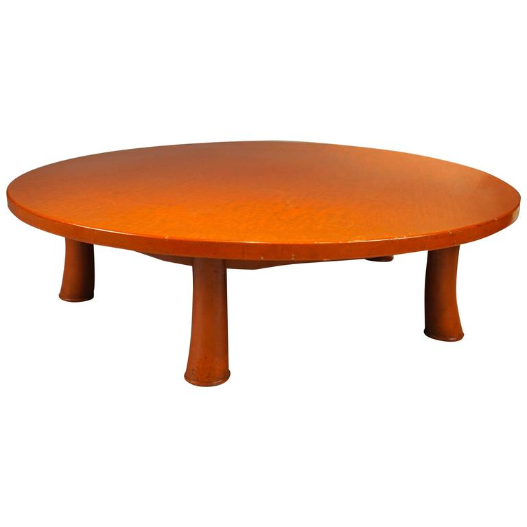Five Leg Red Lacquered Low Table in the Style of Jean Michel Frank