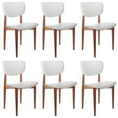 Set of Six Danish Modern Dining Chairs Restored in White Vinyl Upholstery