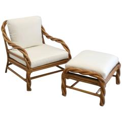 Mid-Century Rattan Club Chair and Ottoman