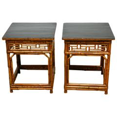 Pair of Chinese Bamboo and Black Lacquered Wood Side Tables