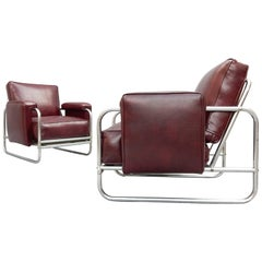 Art Deco Machine Age Tubular Chrome Steel Lounge Chairs, circa 1930s