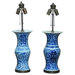 Pair of Chinese Blue and White Trumpet Vase Table Lamps