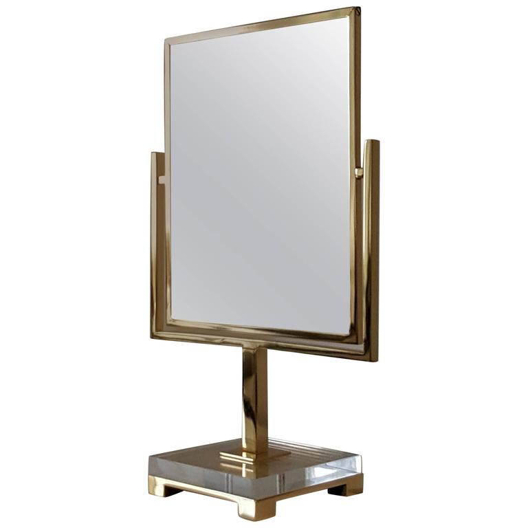 Two Sided Vanity Mirror By Charles Hollis Jones In Brass And Lucite 1970s For