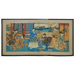Utagawa Kunisada Japanese Ukiyo-E Woodblock Print Screen