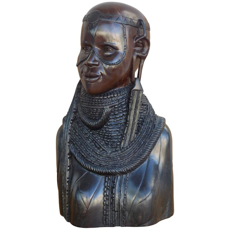 African Sculpture: 20th Century Large Finely Carved African Solid Ebony