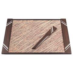 French Art Deco Macassar Desk Set of Blotter Pad and Letter Opener, circa 1930s