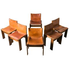 "Set of Six ""Monk"" Chairs by Afra & Tobia Scarpa, 1974, Italy"
