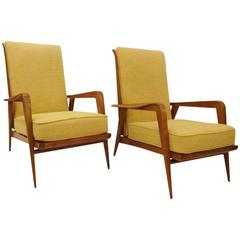 Pair of Modernist Reclining Lounge Chairs by Etienne-Henri Martin, circa 1937